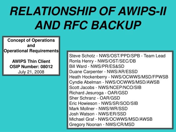 RELATIONSHIP OF AWIPS-II AND RFC BACKUP
