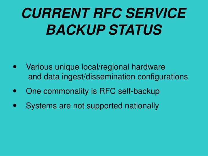 CURRENT RFC SERVICE BACKUP STATUS