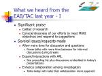 what we heard from the eab tac last year i
