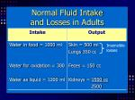 normal fluid intake and losses in adults