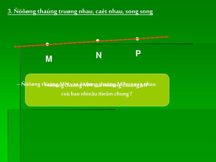 3. Ñöôøng thaúng truøng nhau, caét nhau, song song