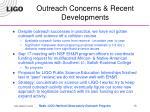 outreach concerns recent developments