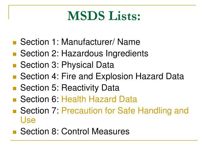 MSDS Lists: