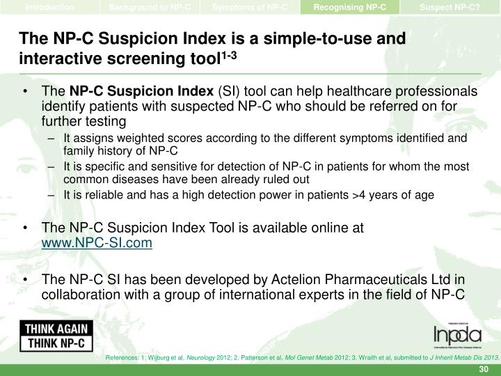 The NP-C Suspicion Index is a simple-to-use and interactive screening