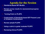 agenda for the session