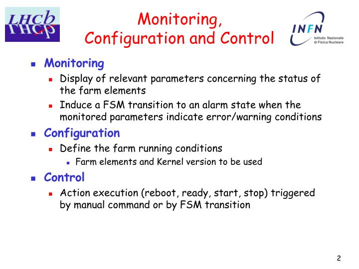 Monitoring configuration and control