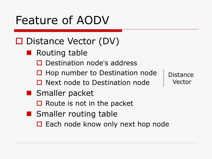 Feature of AODV