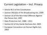 current legislation incl privacy