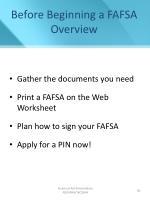 before beginning a fafsa overview