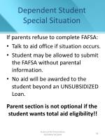dependent student special situation