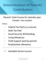 determination of parents contribution