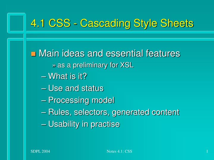 4 1 css cascading style sheets n.