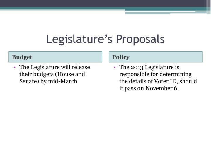 Legislature's Proposals