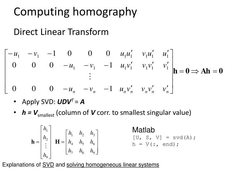 Computing homography
