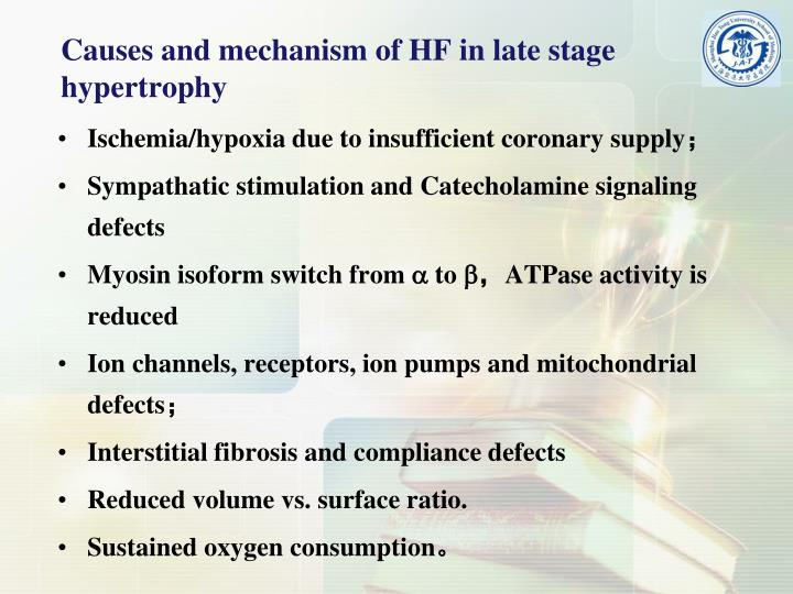 Causes and mechanism of HF in late stage hypertrophy