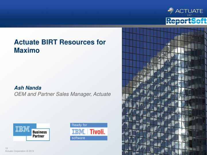 Actuate BIRT Resources for