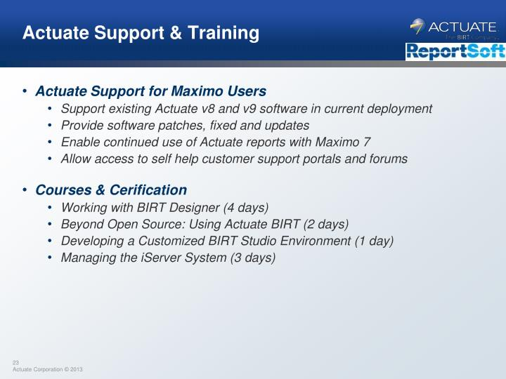 Actuate Support & Training