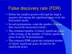 false discovery rate fdr