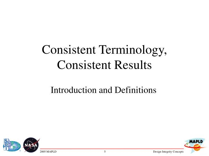 consistent terminology consistent results n.