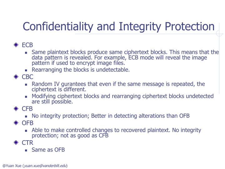 Confidentiality and Integrity Protection