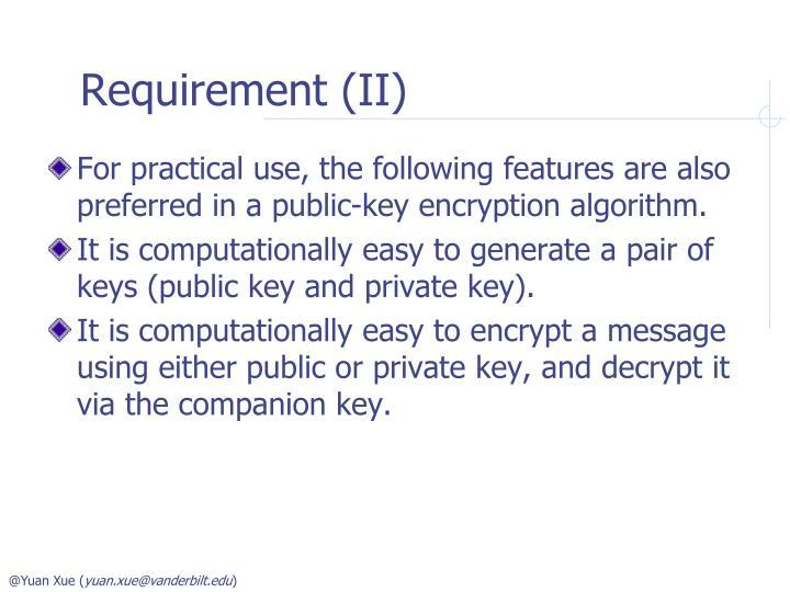 Requirement (II)