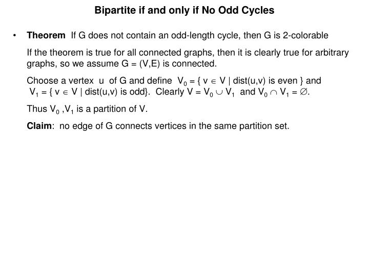 Bipartite if and only if No Odd Cycles