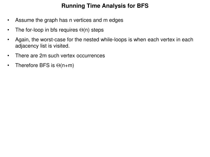 Running Time Analysis for BFS
