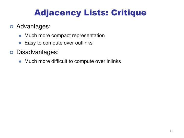 Adjacency Lists: Critique