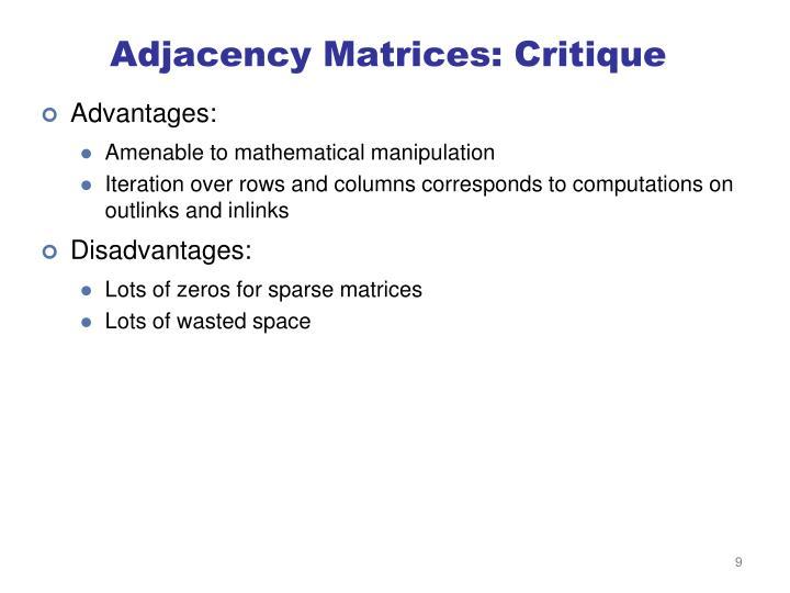 Adjacency Matrices: Critique