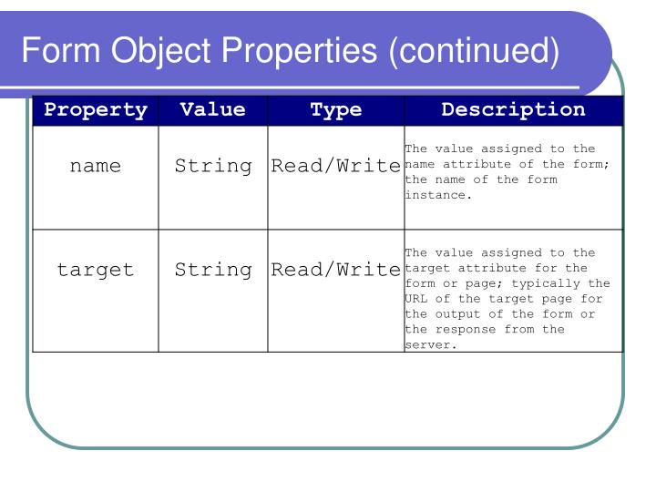 Form Object Properties (continued)