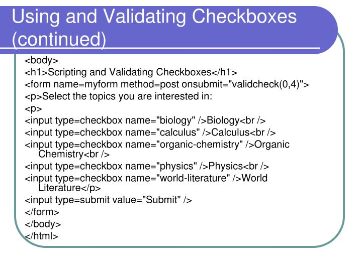 Using and Validating Checkboxes
