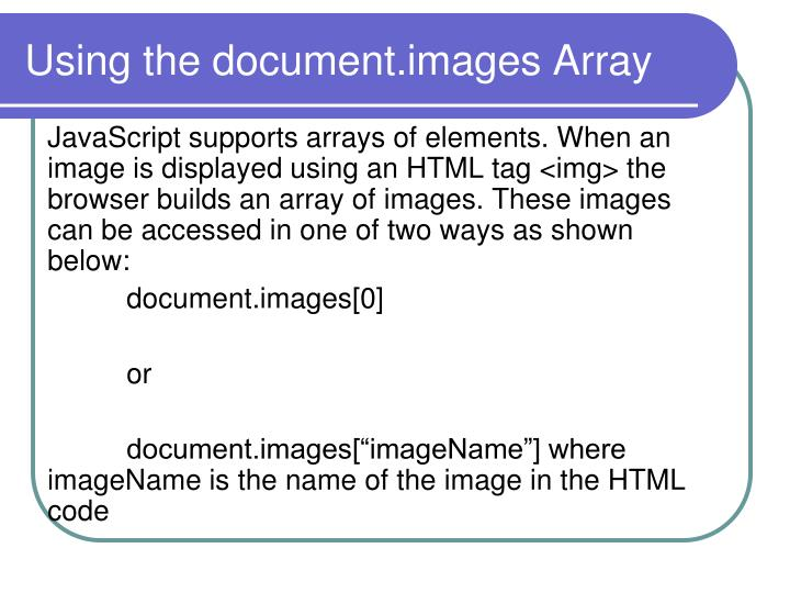 Using the document.images Array