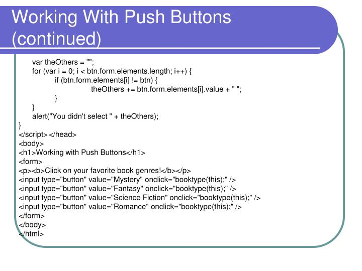Working With Push Buttons