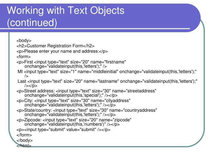 Working with Text Objects