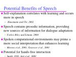potential benefits of speech