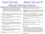 typed excerpt spoken excerpt human tutoring corpora
