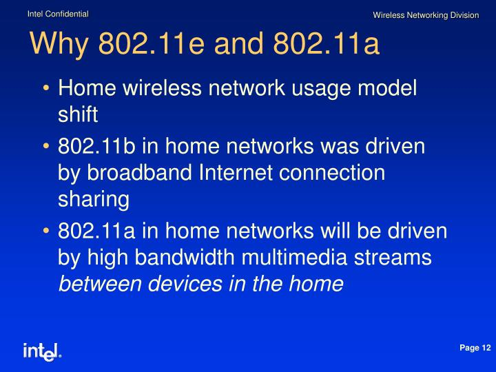 Why 802.11e and 802.11a
