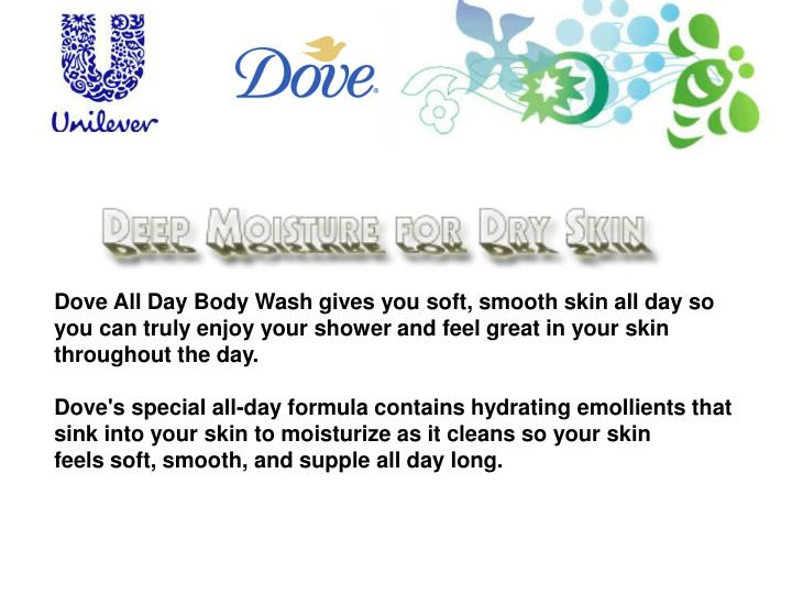 Dove All Day Body Wash gives you soft, smooth skin all day so you can truly enjoy your shower and feel great in your skin throughout the day.