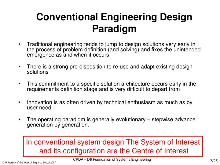 Conventional engineering design paradigm