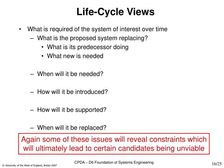 Life-Cycle Views