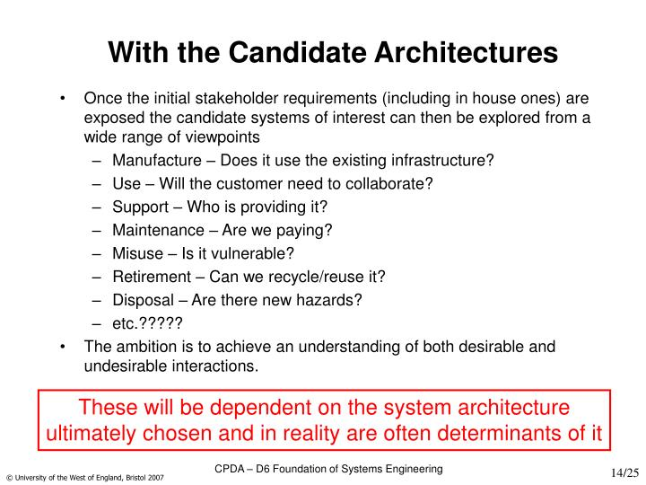 With the Candidate Architectures