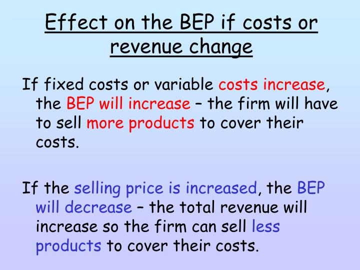 Effect on the BEP if costs or revenue change