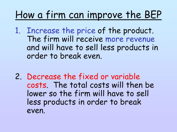 How a firm can improve the BEP