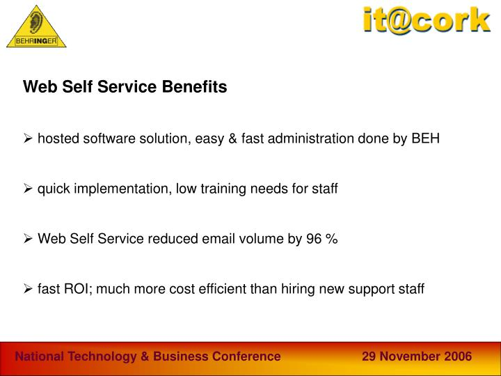 Web Self Service Benefits