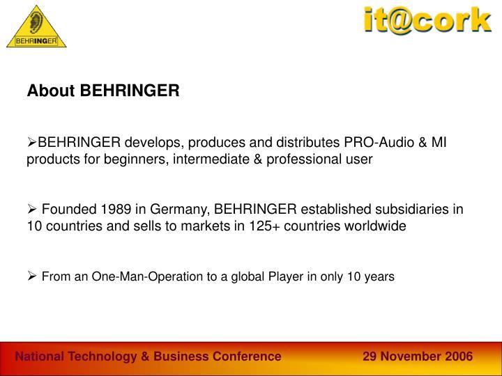 About BEHRINGER