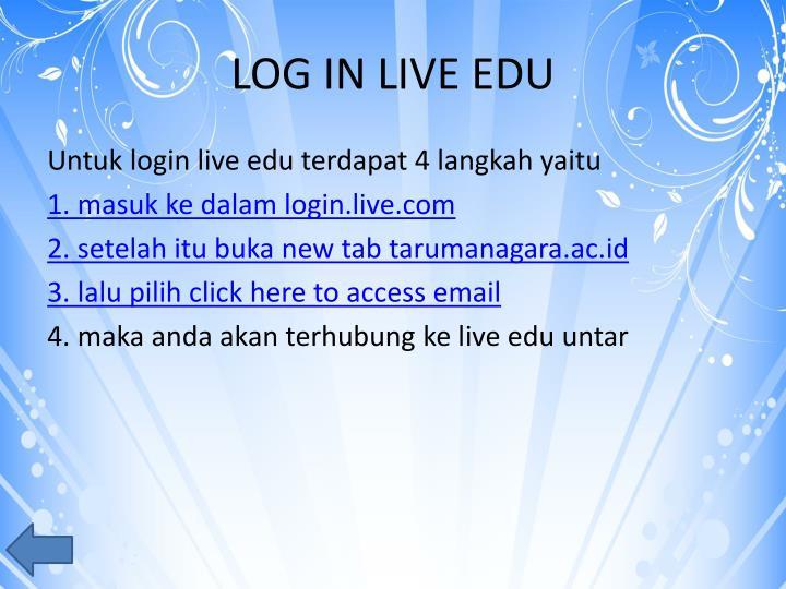 LOG IN LIVE EDU
