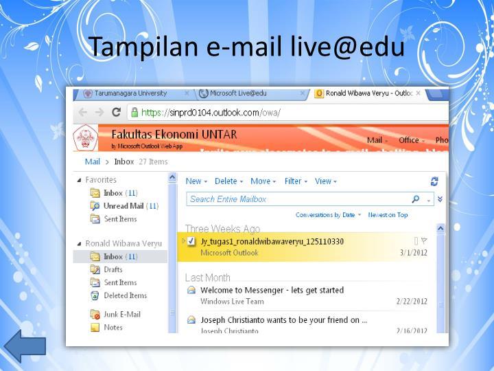 Tampilan e-mail live@edu
