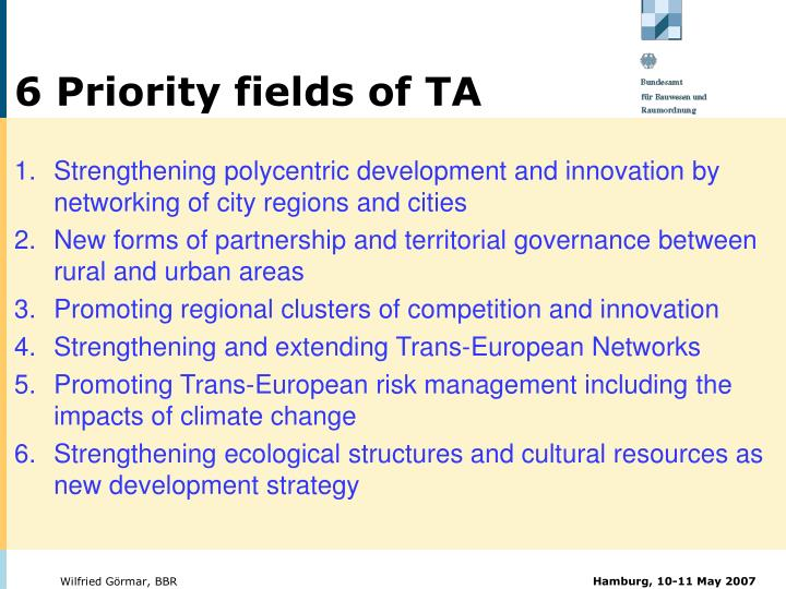 6 Priority fields of TA