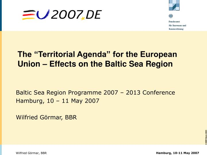 The territorial agenda for the european union effects on the baltic sea region