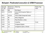 beispiel predicated execution @ arm prozessor